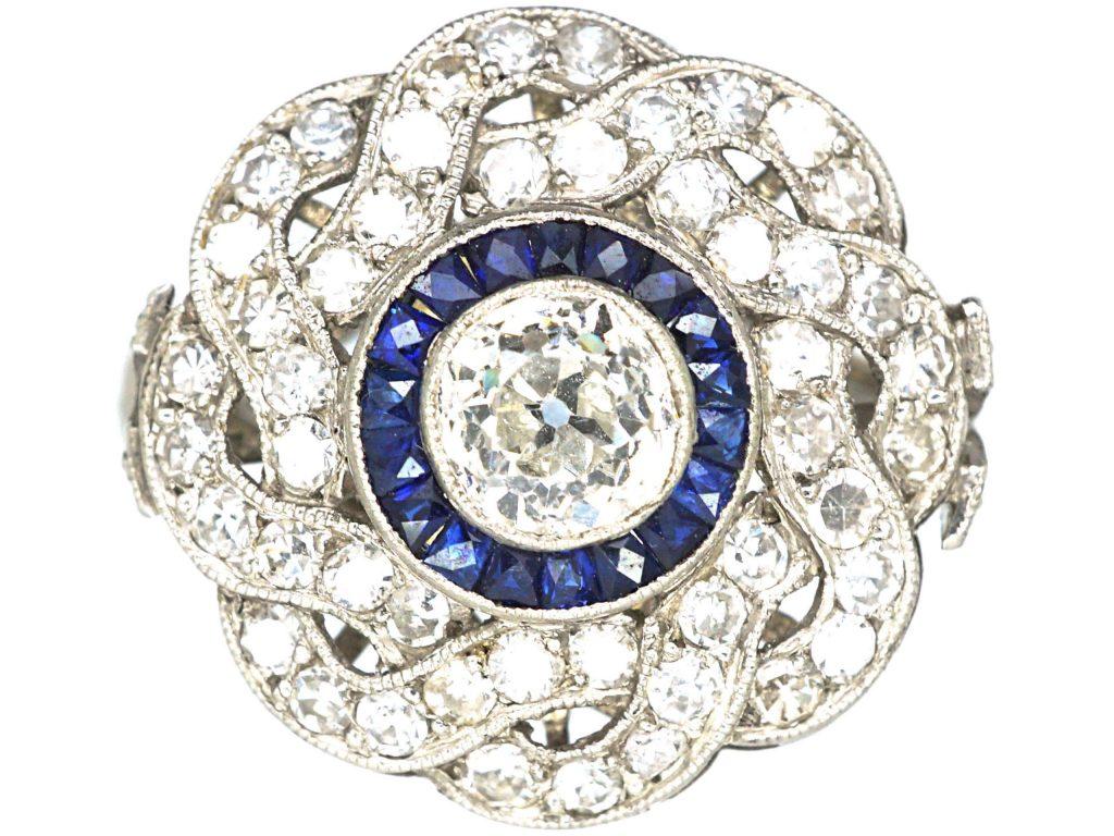 blue color diamond ring