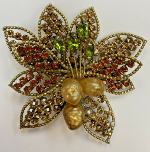 Bee Brooch Large Red & Clear Crystal Goldtone Bridal Jewellery