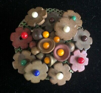 Czech Wooden Jewelry with Multi-Color Milk Glass Beads